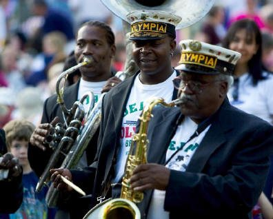 Dejans Olympia Brass Band New Orleans LA Youth Voices Bucketmen Brass Band Sally Ann Roberts Life Is