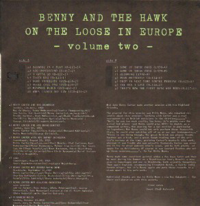 BENNY CARTER - Benny Carter And Coleman Hawkins ‎: Benny And The Hawk On The Loose In Europe Vol.2 cover