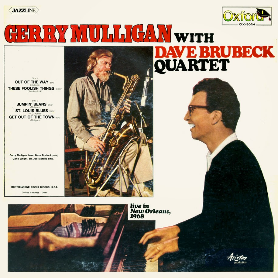 GERRY MULLIGAN - Gerry Mulligan With Dave Brubeck Quartet : Live In New Orleans, 1968 cover