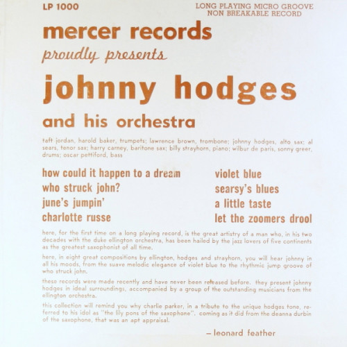 JOHNNY HODGES - Mercer Records Proudly Presents cover