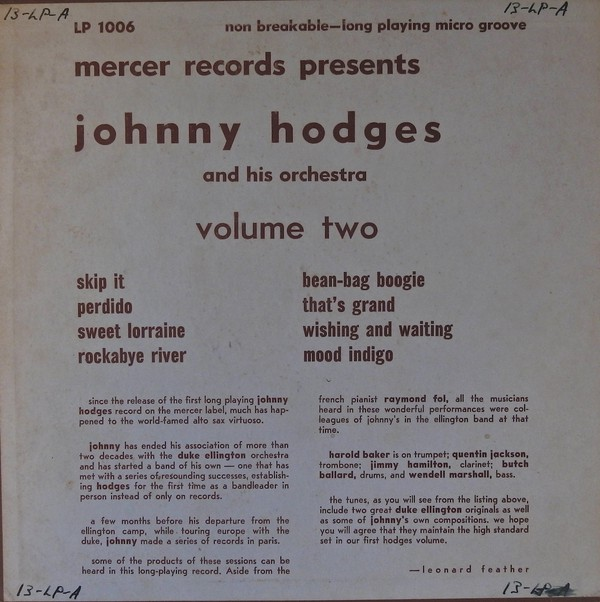 JOHNNY HODGES - Volume Two cover