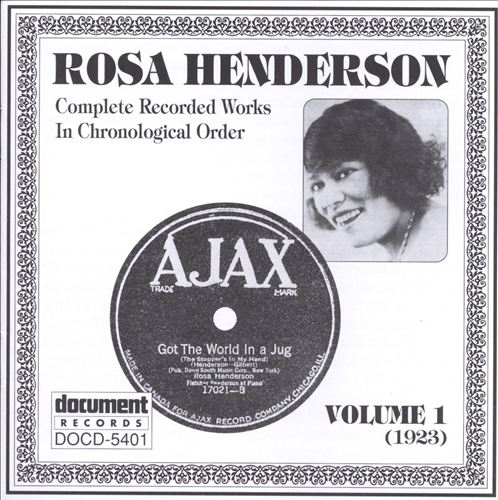 ROSA HENDERSON - Complete Recorded Works, Vol. 1 (1923) cover