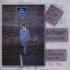 ART PEPPER Unreleased Art, Vol. III; The Croydon Concert, May 14, 1981 album cover