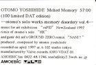 OTOMO YOSHIHIDE Melted Memory album cover