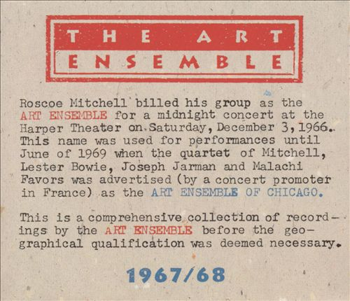 THE ART ENSEMBLE OF CHICAGO - 1967/1968 cover